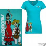 "ROLLERBONES ""Day of the Dead - Dancing Couple"" Girls T-Shirt TEAL XL only Roller Derby Rollerskate"